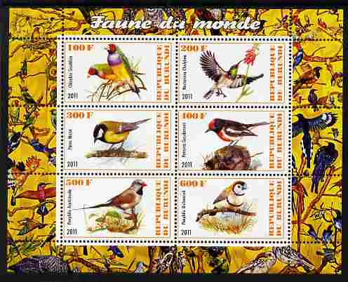 Burundi 2011 Fauna of the World - Birds perf sheetlet containing 6 values unmounted mint