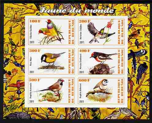 Burundi 2011 Fauna of the World - Birds imperf sheetlet containing 6 values unmounted mint