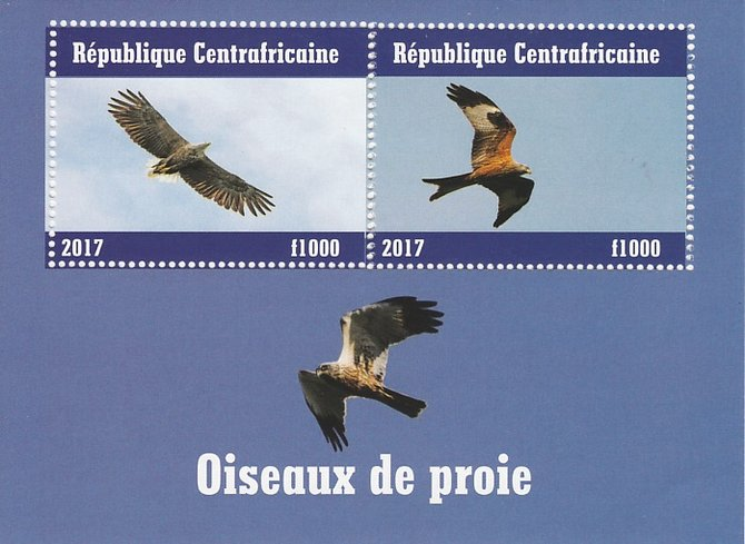 Central African Republic 2017 Birds of Prey #1 perf sheetlet containing 2 values unmounted mint. Note this item is privately produced and is offered purely on its thematic appeal