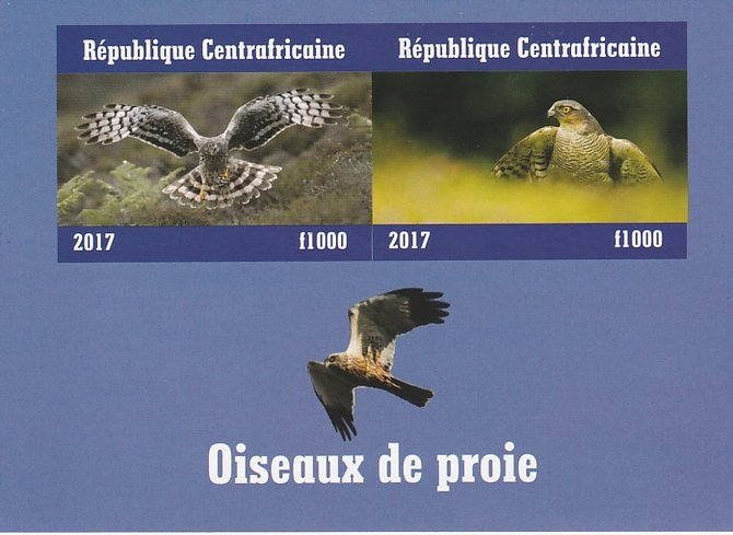 Central African Republic 2017 Birds of Prey #3 imperf sheetlet containing 2 values unmounted mint. Note this item is privately produced and is offered purely on its thematic appeal