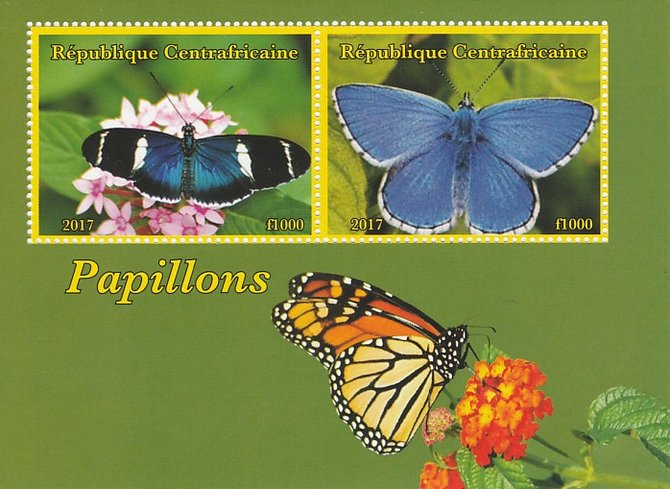 Central African Republic 2017 Butterflies perf sheetlet containing 2 values unmounted mint. Note this item is privately produced and is offered purely on its thematic appeal
