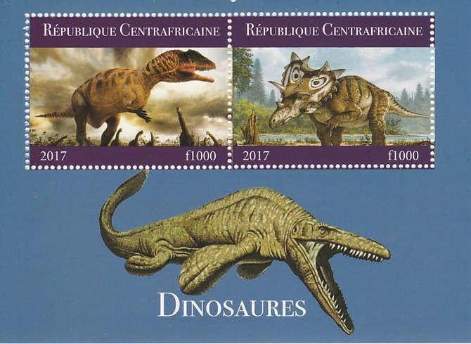 Central African Republic 2017 Dinosaurs #1 perf sheetlet containing 2 values unmounted mint. Note this item is privately produced and is offered purely on its thematic appeal
