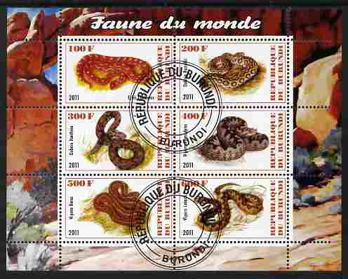 Burundi 2011 Fauna of the World - Reptiles - Snakes #2 perf sheetlet containing 6 values fine cto used