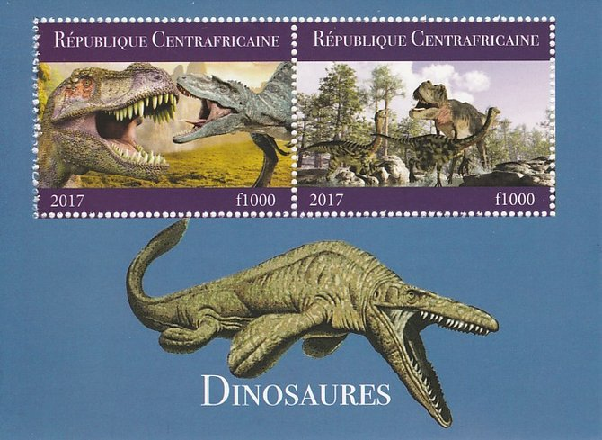 Central African Republic 2017 Dinosaurs #2 perf sheetlet containing 2 values unmounted mint. Note this item is privately produced and is offered purely on its thematic appeal
