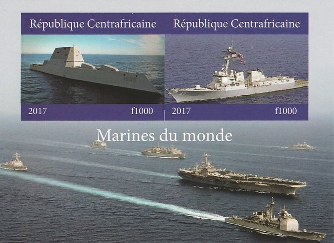 Central African Republic 2017 Ships of the World #1 imperf sheetlet containing 2 values unmounted mint. Note this item is privately produced and is offered purely on its thematic appeal