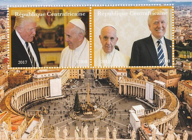 Central African Republic 2017 The Pope & Trump perf sheetlet containing 2 values unmounted mint. Note this item is privately produced and is offered purely on its thematic appeal