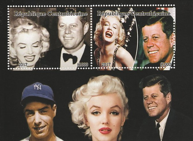 Central African Republic 2017 Marilyn Monroe & JFK perf sheetlet containing 2 values unmounted mint. Note this item is privately produced and is offered purely on its thematic appeal
