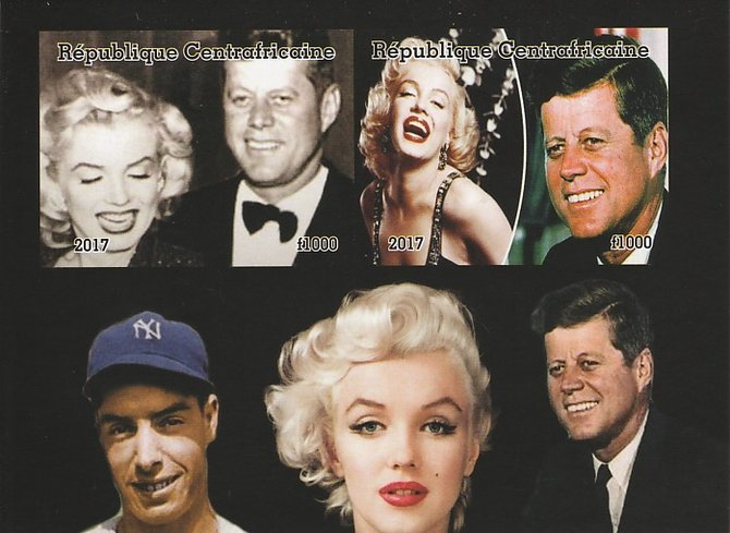 Central African Republic 2017 Marilyn Monroe & JFK imperf sheetlet containing 2 values unmounted mint. Note this item is privately produced and is offered purely on its thematic appeal
