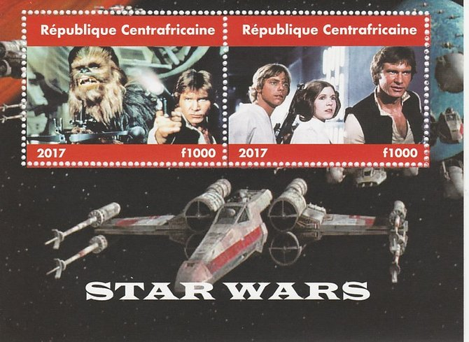 Central African Republic 2017 Star Wars #1 perf sheetlet containing 2 values unmounted mint. Note this item is privately produced and is offered purely on its thematic appeal