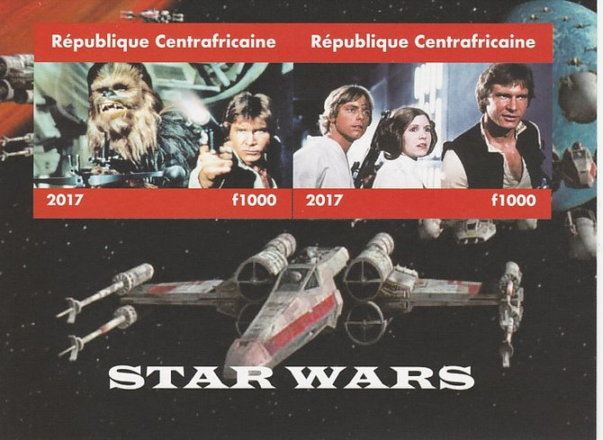 Central African Republic 2017 Star Wars #1 imperf sheetlet containing 2 values unmounted mint. Note this item is privately produced and is offered purely on its thematic appeal, stamps on , stamps on  stamps on films, stamps on  stamps on cinema, stamps on  stamps on movies, stamps on  stamps on sci-fi, stamps on  stamps on star wars
