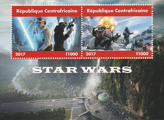 Central African Republic 2017 Star Wars #2 perf sheetlet containing 2 values unmounted mint. Note this item is privately produced and is offered purely on its thematic appeal