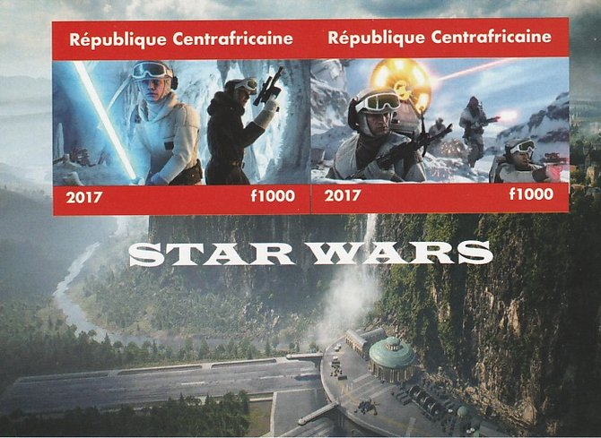 Central African Republic 2017 Star Wars #2 imperf sheetlet containing 2 values unmounted mint. Note this item is privately produced and is offered purely on its thematic ...