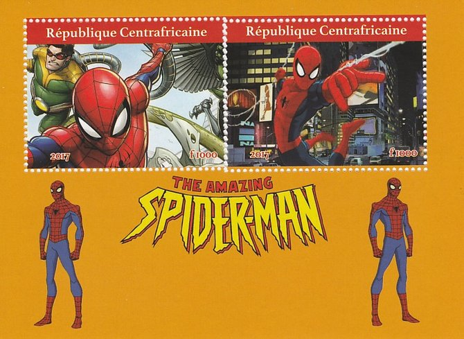 Central African Republic 2017 Spiderman perf sheetlet containing 2 values unmounted mint. Note this item is privately produced and is offered purely on its thematic appeal