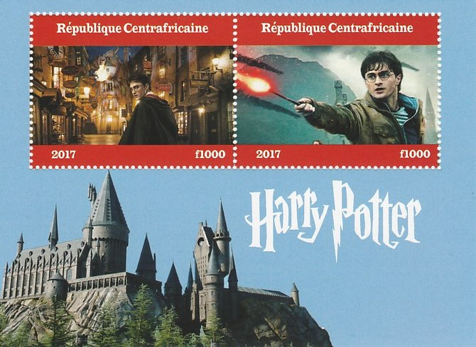 Central African Republic 2017 Harry Potter perf sheetlet containing 2 values unmounted mint. Note this item is privately produced and is offered purely on its thematic appeal