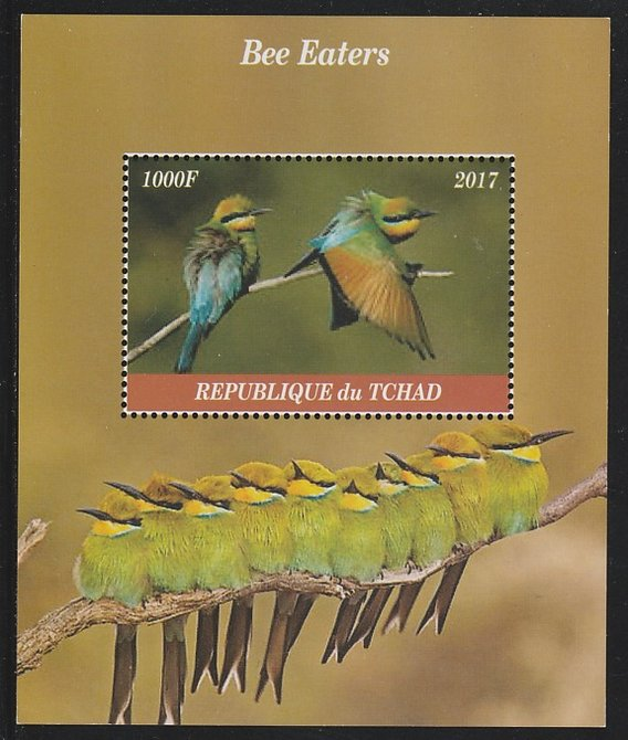 Chad 2017 Bee Eaters perf s/sheet containing 1 value unmounted mint. Note this item is privately produced and is offered purely on its thematic appeal. .