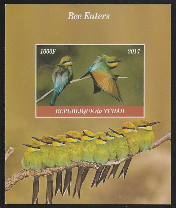 Chad 2017 Bee Eaters imperf s/sheet containing 1 value unmounted mint. Note this item is privately produced and is offered purely on its thematic appeal. .