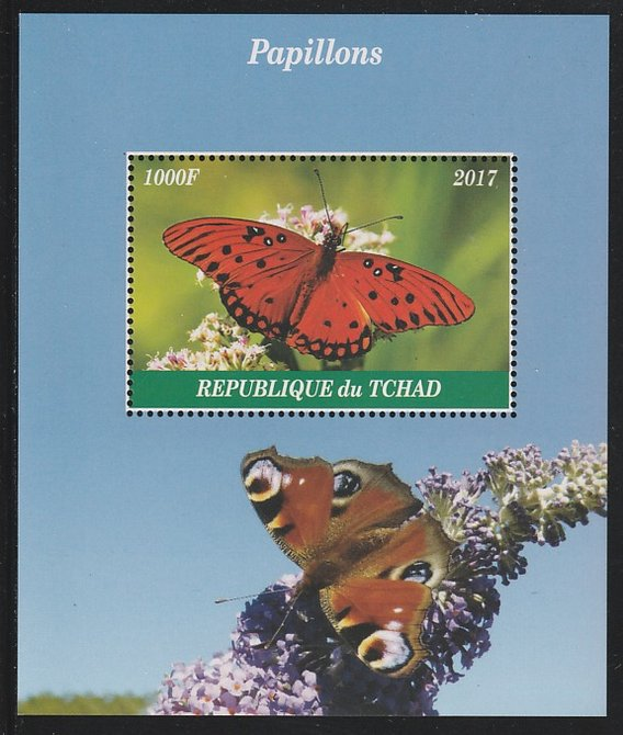 Chad 2017 Butterflies perf s/sheet containing 1 value unmounted mint. Note this item is privately produced and is offered purely on its thematic appeal. .