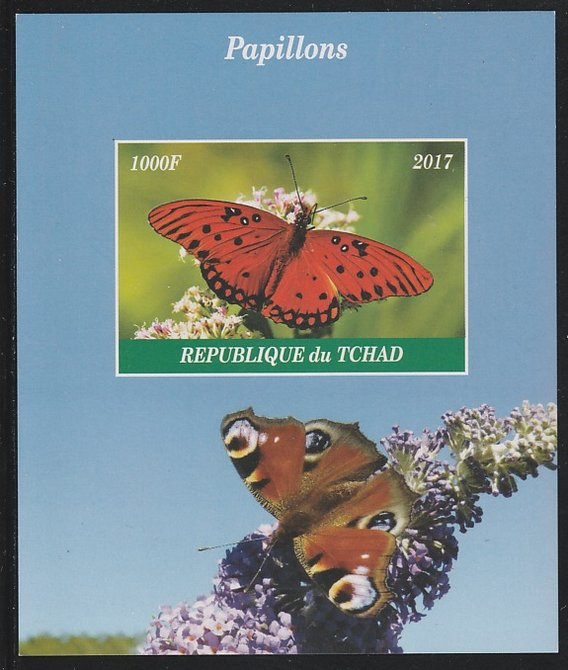 Chad 2017 Butterflies imperf s/sheet containing 1 value unmounted mint. Note this item is privately produced and is offered purely on its thematic appeal. .