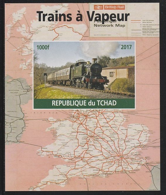 Chad 2017 Steam Trains imperf s/sheet containing 1 value unmounted mint. Note this item is privately produced and is offered purely on its thematic appeal. .