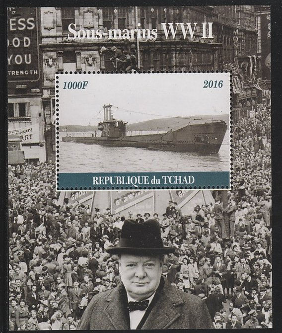 Chad 2016 Submarines of WW2 & Churchill #2 perf s/sheet containing 1 value unmounted mint. Note this item is privately produced and is offered purely on its thematic appeal. .
