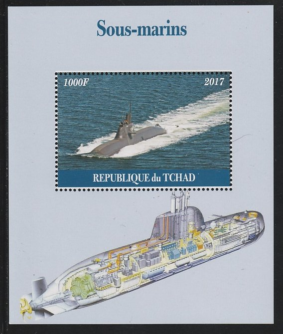 Chad 2017 Submarines perf s/sheet containing 1 value unmounted mint. Note this item is privately produced and is offered purely on its thematic appeal. .