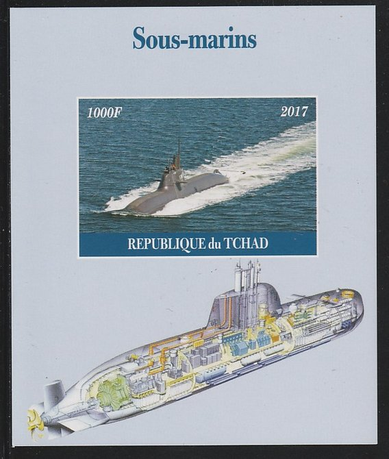 Chad 2017 Submarines imperf s/sheet containing 1 value unmounted mint. Note this item is privately produced and is offered purely on its thematic appeal. .