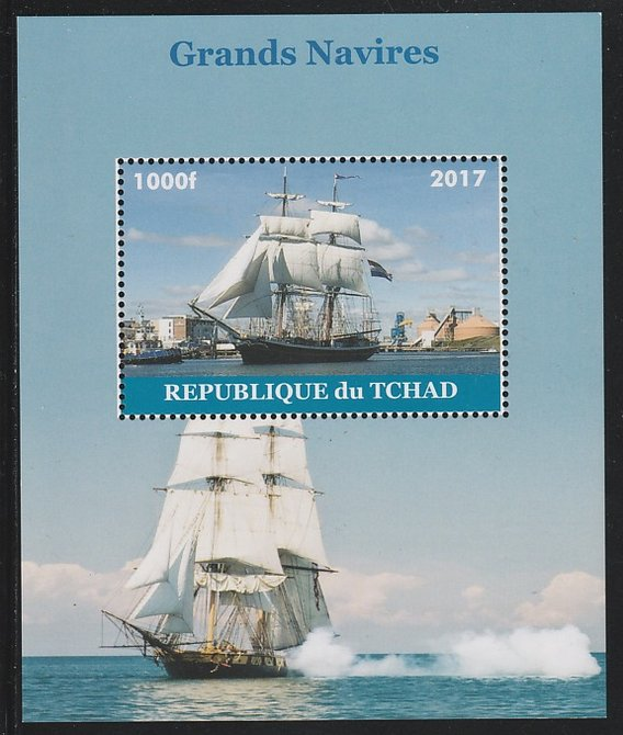 Chad 2017 Sailing Ships perf s/sheet containing 1 value unmounted mint. Note this item is privately produced and is offered purely on its thematic appeal. .