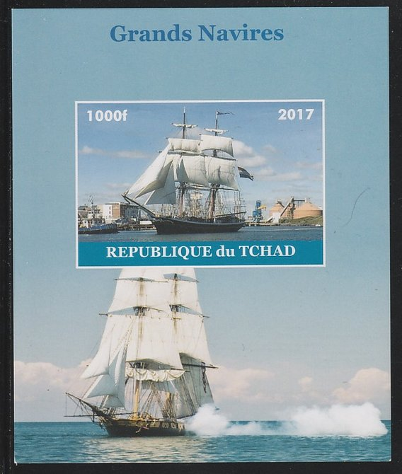 Chad 2017 Sailing Ships imperf s/sheet containing 1 value unmounted mint. Note this item is privately produced and is offered purely on its thematic appeal. .