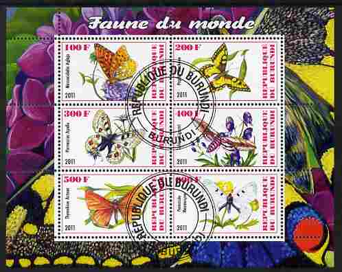 Burundi 2011 Fauna of the World - Butterflies #2 perf sheetlet containing 6 values fine cto used