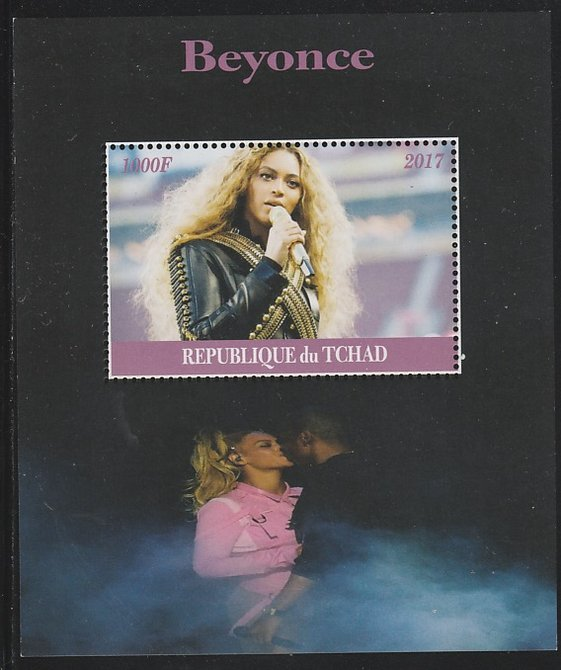 Chad 2017 Beyonce perf s/sheet containing 1 value unmounted mint. Note this item is privately produced and is offered purely on its thematic appeal. .