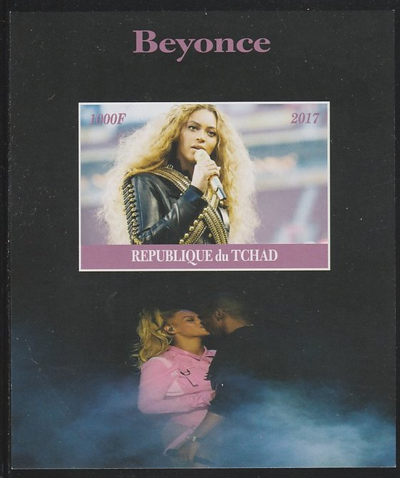 Chad 2017 Beyonce imperf s/sheet containing 1 value unmounted mint. Note this item is privately produced and is offered purely on its thematic appeal. .