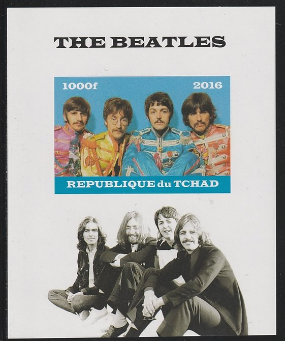 Chad 2016 The Beatles imperf s/sheet containing 1 value unmounted mint. Note this item is privately produced and is offered purely on its thematic appeal. .