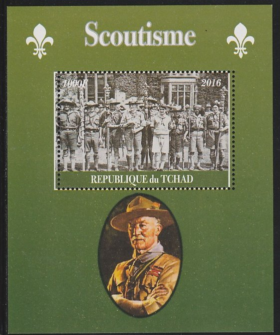 Chad 2016 Scouting perf s/sheet containing 1 value unmounted mint. Note this item is privately produced and is offered purely on its thematic appeal. .