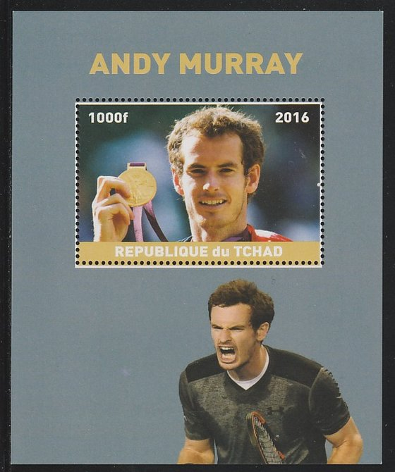 Chad 2016 Andy Murray perf s/sheet containing 1 value unmounted mint. Note this item is privately produced and is offered purely on its thematic appeal. .
