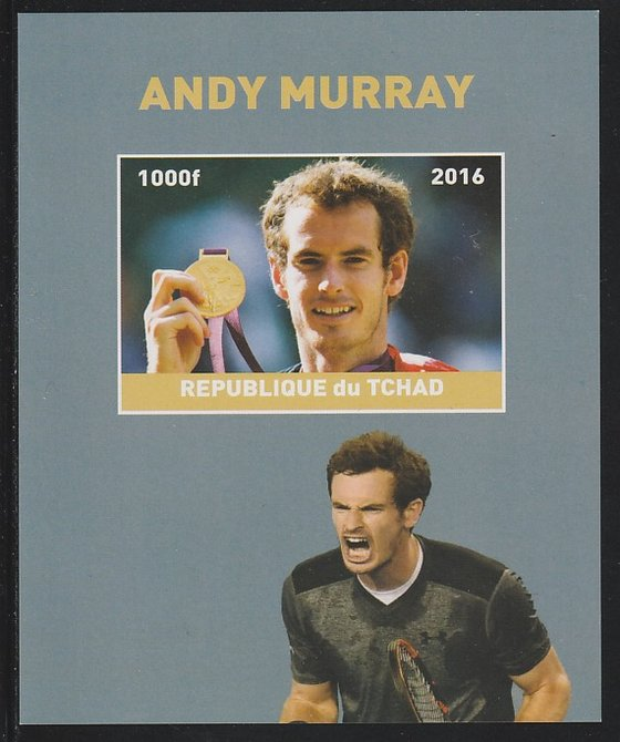Chad 2016 Andy Murray imperf s/sheet containing 1 value unmounted mint. Note this item is privately produced and is offered purely on its thematic appeal. .