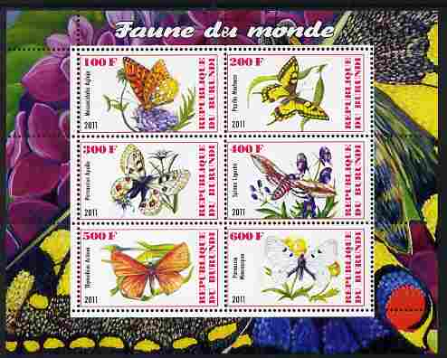 Burundi 2011 Fauna of the World - Butterflies #2 perf sheetlet containing 6 values unmounted mint