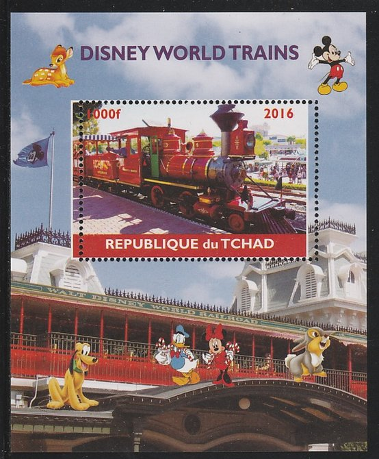 Chad 2016 Disneyworld Trains #1 perf s/sheet containing 1 value unmounted mint. Note this item is privately produced and is offered purely on its thematic appeal. .