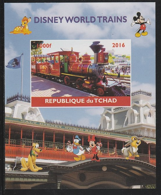 Chad 2016 Disneyworld Trains #1 imperf s/sheet containing 1 value unmounted mint. Note this item is privately produced and is offered purely on its thematic appeal. .