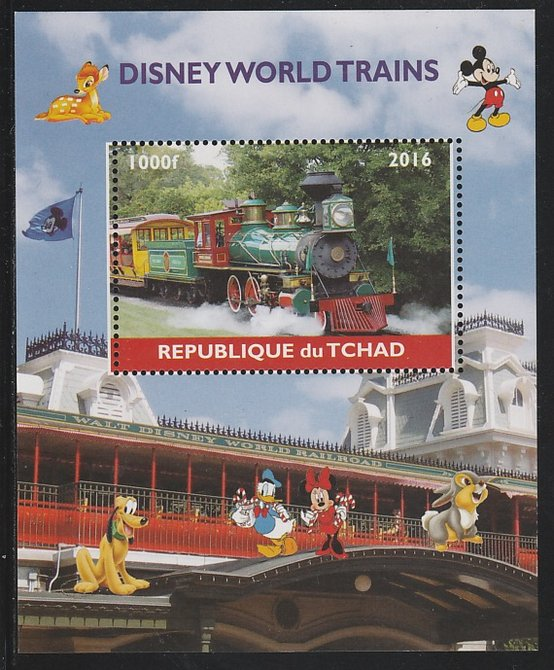 Chad 2016 Disneyworld Trains #2 perf s/sheet containing 1 value unmounted mint. Note this item is privately produced and is offered purely on its thematic appeal. .