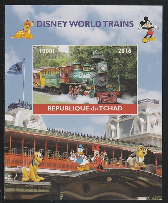 Chad 2016 Disneyworld Trains #2 imperf s/sheet containing 1 value unmounted mint. Note this item is privately produced and is offered purely on its thematic appeal. .