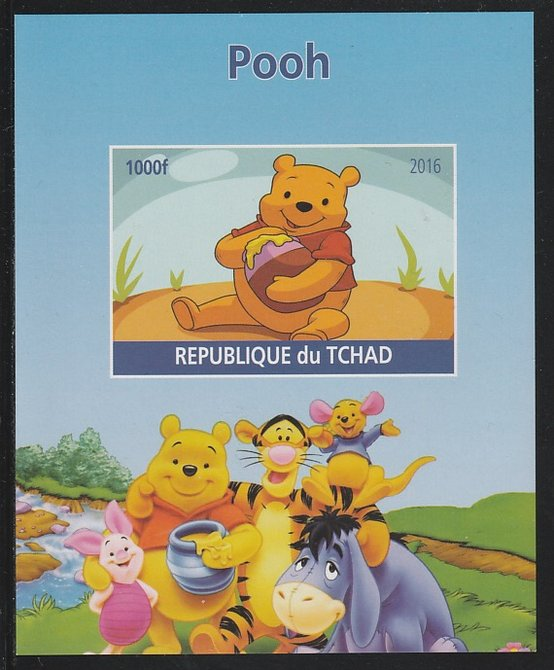 Chad 2016 Pooh Bear imperf s/sheet containing 1 value unmounted mint. Note this item is privately produced and is offered purely on its thematic appeal. .