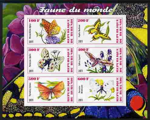 Burundi 2011 Fauna of the World - Butterflies imperf sheetlet containing 6 values unmounted mint