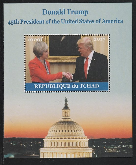 Chad 2017 Donald Trump #1 perf s/sheet containing 1 value unmounted mint. Note this item is privately produced and is offered purely on its thematic appeal. .