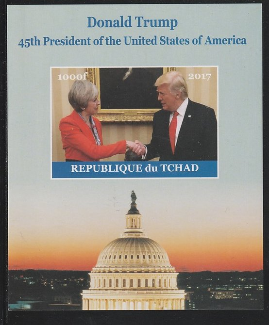 Chad 2017 Donald Trump #1 imperf s/sheet containing 1 value unmounted mint. Note this item is privately produced and is offered purely on its thematic appeal. .