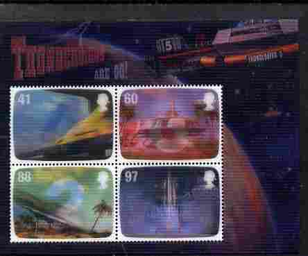 Great Britain 2011 Thunderbirds Are Go perf m/sheet in 3-dimensional format on gummed plastic card unmounted mint