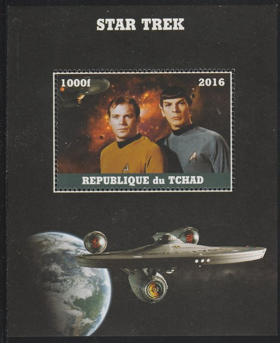 Chad 2016 Star Trek perf s/sheet containing 1 value unmounted mint. Note this item is privately produced and is offered purely on its thematic appeal. .