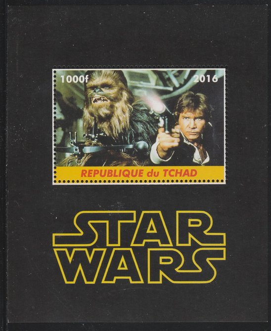 Chad 2016 Star Wars perf s/sheet containing 1 value unmounted mint. Note this item is privately produced and is offered purely on its thematic appeal. .