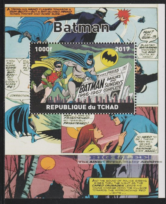 Chad 2017 Batman perf s/sheet containing 1 value unmounted mint. Note this item is privately produced and is offered purely on its thematic appeal. .