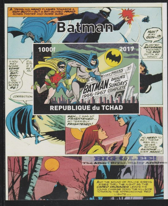 Chad 2017 Batman imperf s/sheet containing 1 value unmounted mint. Note this item is privately produced and is offered purely on its thematic appeal. .