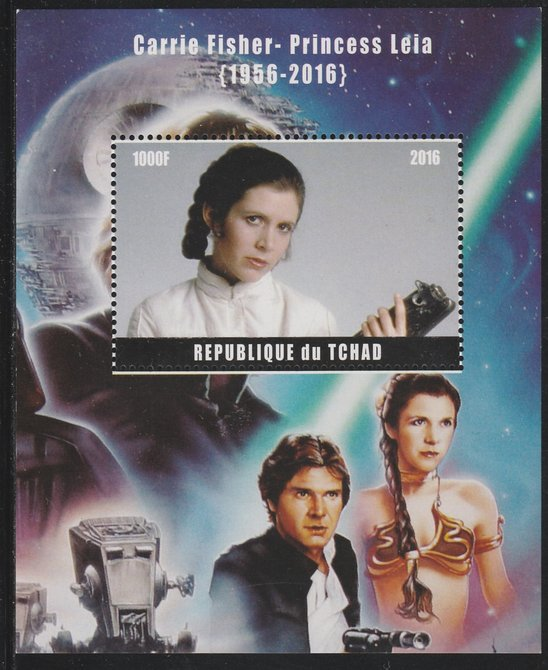 Chad 2016 Carrie Fisher perf s/sheet containing 1 value unmounted mint. Note this item is privately produced and is offered purely on its thematic appeal. .